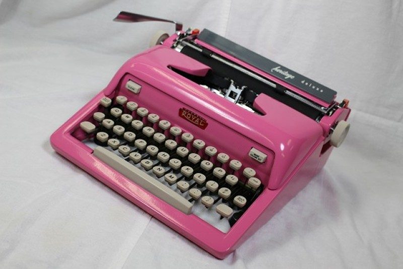 lip stick pink typewriter