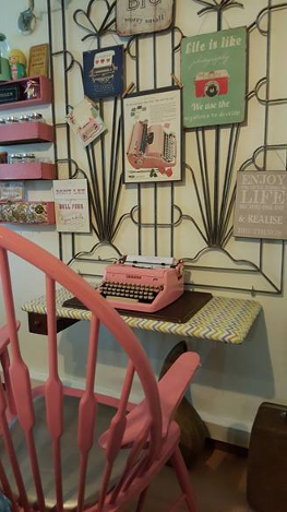 Pink Chair and Typewriter