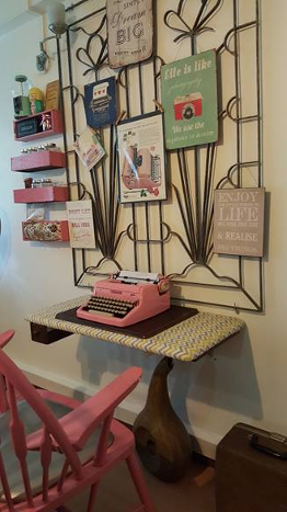 Pink Typewriter and Chair