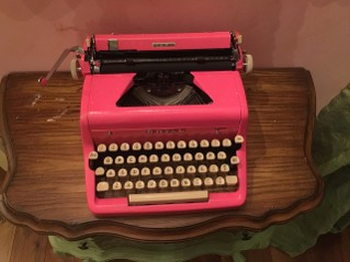 Hot Pink Typewriter with White Keys Above View