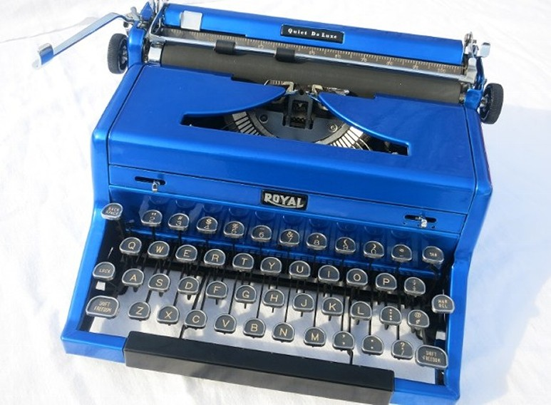 Royal Quiet Deluxe Blue Typewriter