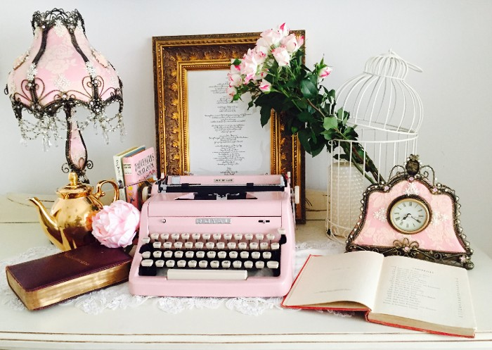 Royal Pink Typewriter in a Classical Setting