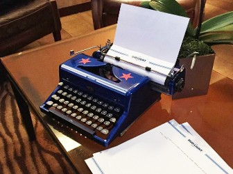 Blue Typewriter with Stars at an Angle